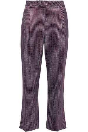 Equipment Woman Cropped Printed Satin-twill Straight-leg Pants Burgundy Size 2