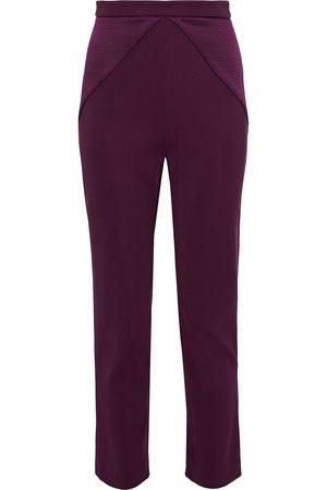 Cushnie Woman Textured Satin-paneled Stretch-knit Skinny Pants Plum Size 2