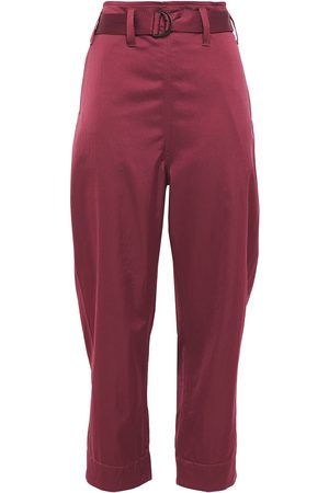 Brunello Cucinelli Woman Belted Sateen Straight-leg Pants Plum Size 42