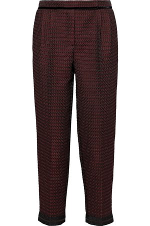 AMANDA WAKELEY Woman Velvet-trimmed Jacquard Tapered Pants Brick Size 10