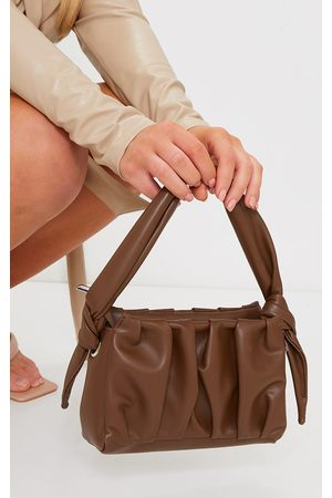 PRETTYLITTLETHING Chocolate Pleated Front Shoulder Bag