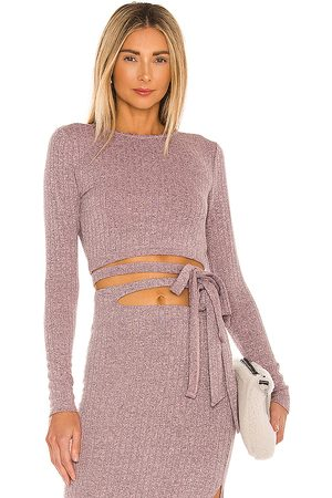 Lovers and Friends Cailey Wrap Top in Mauve.