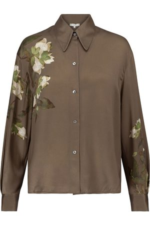 Vince Floral silk-satin blouse