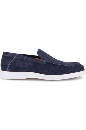 santoni Men Loafers - Men's Boit Suede Loafers - Navy - Size 11