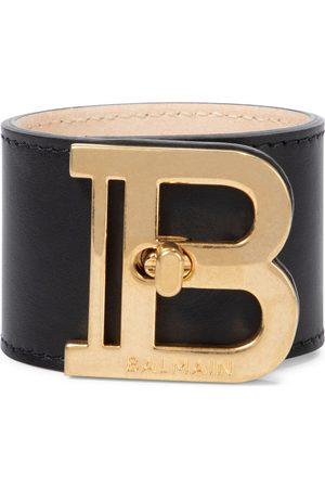 Balmain B-Twist leather cuff bracelet