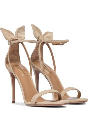 Aquazzura Bow Tie 105 suede sandals