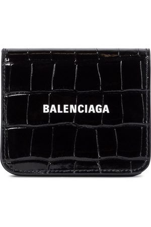 Balenciaga Cash Flap croc-embossed leather wallet