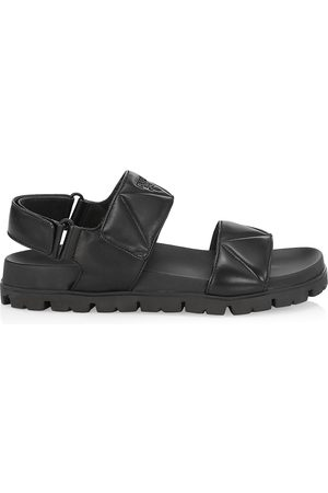 Prada Women's Quilted Leather Sport Sandals - Nero - Size 41 (11)