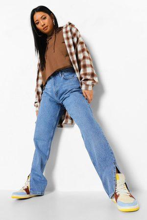 Boohoo Womens Petite Side Split Hem Jean - - 2