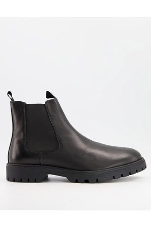 ASOS DESIGN Chelsea boots in leather with chunky sole