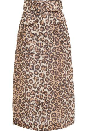 ZIMMERMANN Women Printed Skirts - Woman Bonita Safari Belted Leopard-print Linen Midi Skirt Animal Print Size 0