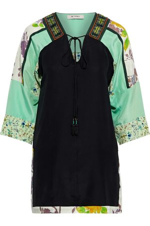 Etro Woman Embellished Jacquard Satin And Floral-print Silk Crepe De Chine Tunic Mint Size 38