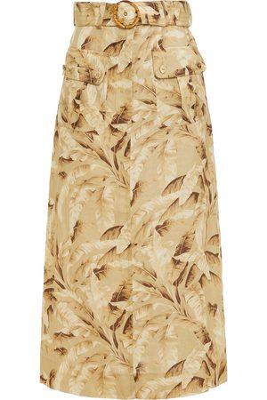 ZIMMERMANN Women Printed Skirts - Woman Super Eight Safari Belted Printed Linen Midi Skirt Mustard Size 0