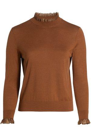 Lafayette 148 New York Women's Ruffle-Trim Wool & Silk-Blend Sweater - Cappuccino - Size 1X (14-16)