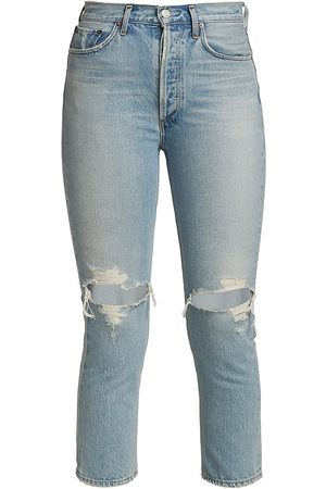 AGOLDE Women's Riley Ripped Crop Jeans - Clear Skies Light Indigo - Size 29