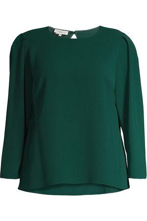 Lafayette 148 New York Women's Gia Long Sleeve Blouse - Cedar - Size 3X (22-24)