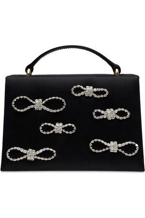 Mach & Mach Embellished Silk Satin Top Handle Bag