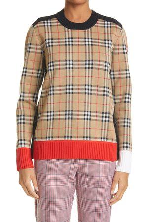 Burberry Women's Zambezi Check Jacquard Merino Wool Blend Sweater