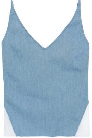J Brand Women Camisoles - Woman Cotton-blend Chambray And Organza Camisole Slate Size L