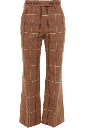 Acne Studios Women Wide Leg Pants - Woman Checked Wool And Cotton-blend Wide-leg Pants Size 32