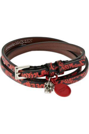 Alexander McQueen Graffiti Leather Triple Wrap Bracelet