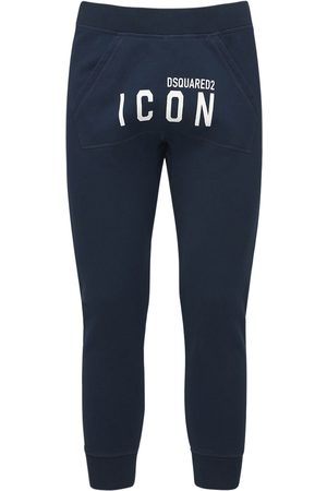 Dsquared2 Print Icon Logo Cotton Jersey Sweatpants