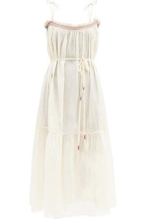 Loup Charmant Anacapri Smocked Organic-cotton Dress - Womens - Ivory