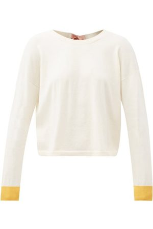 Marni Women Sweaters - Tie-back Cotton-blend Sweater - Womens - Ivory