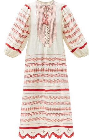 VITA KIN Belarus Beaded Embroidered Linen Dress - Womens