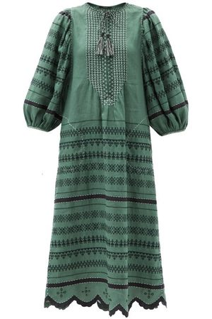 VITA KIN Belarus Beaded Embroidered Linen Dress - Womens - Multi