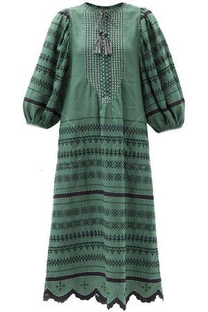 VITA KIN Belarus Beaded Embroidered Linen Dress - Womens - Multi