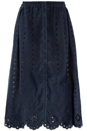 VITA KIN Charlie Broderie-anglaise Linen Midi Skirt - Womens - Navy