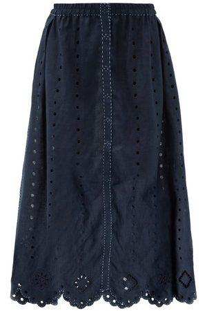 VITA KIN Women Midi Skirts - Charlie Broderie-anglaise Linen Midi Skirt - Womens - Navy