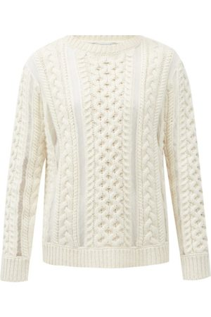 GABRIELA HEARST Westall Tulle-insert Cabled Wool-blend Sweater - Womens - Ivory