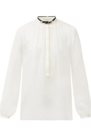 GABRIELA HEARST Vlychos Leather-strap Cotton-blend Blouse - Womens - Ivory