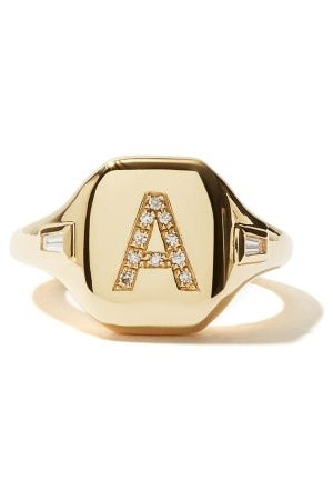 Shay Women Rings - Initial Diamond & 18kt Pinky Ring (a-i) - Womens