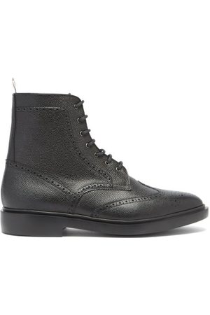 Thom Browne Men Lace-up Boots - Wingtip Brogue Grained-leather Boots - Mens