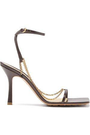 Bottega Veneta Stretch Chain-embellished Leather Sandals - Womens - Dark