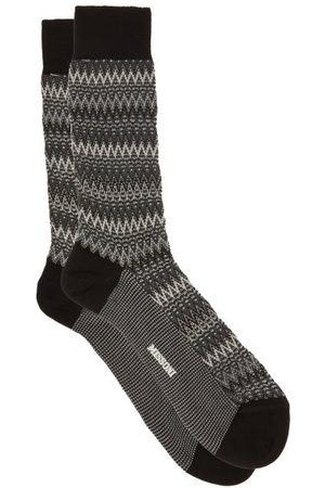 Missoni Space-dyed Zigzag-striped Cotton-blend Socks - Mens - Grey Multi