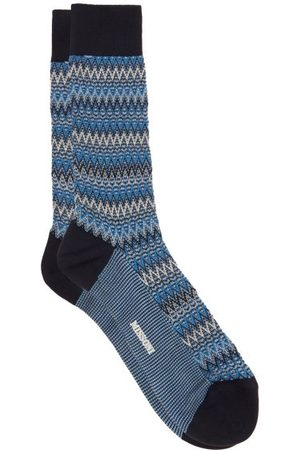 Missoni Space-dyed Zigzag-striped Cotton-blend Socks - Mens - Multi