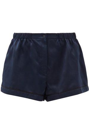 Araks Tia Silk-satin Pyjama Shorts - Womens - Dark Navy