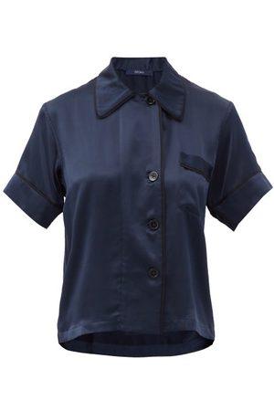 Araks Shelby Short-sleeve Silk-charmeuse Pyjama Shirt - Womens - Dark Navy