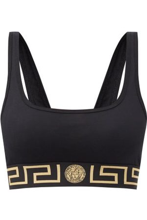VERSACE Logo-jacquard Low-impact Cotton-blend Sports Bra - Womens