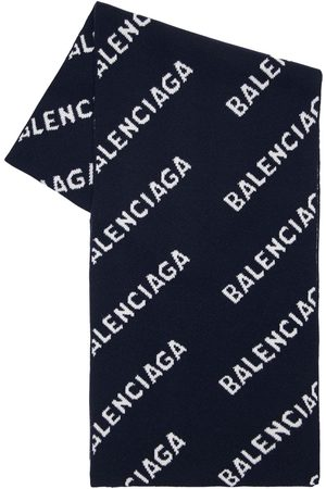 Balenciaga All Over Logo Intarsia Wool Scarf
