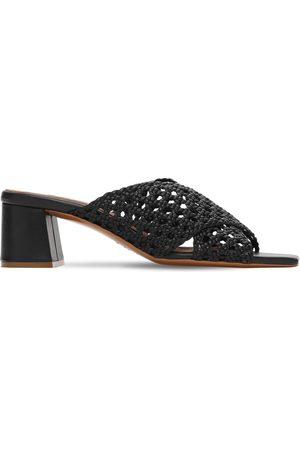 Souliers Martinez 50mm Woven Metallic Leather Mules