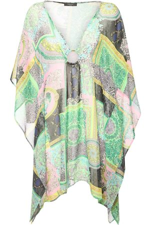 VERSACE Print Sheer Silk Georgette Caftan Dress