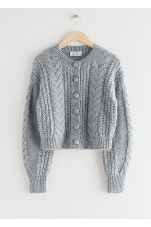 & OTHER STORIES Women Cardigans - Cropped Cable Knit Cardigan - Grey