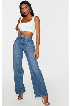 PRETTYLITTLETHING Women Wide Leg - Shape Vintage Wash Denim Wide Leg Jeans