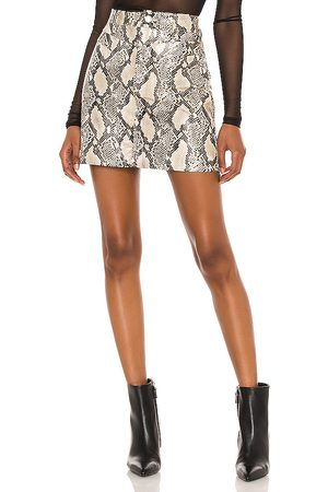 BLANK NYC Faux Leather Bodycon Mini Skirt in Grey.