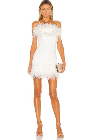 Bronx and Banco Women Party Dresses - Lola Blanc Mini Feather Dress in .